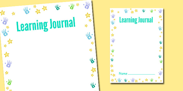 Handprints and Stars Themed Learning Journal Front Cover - journal, learning journal, cover, handprints, stars