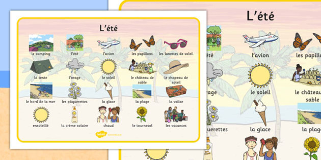 L'ete Summer Word Mat Images French - french, Summer, holidays, word mat, writing aid, holiday, holidays, seasons, beach, sun, flowers, ice cream, sea, seaside