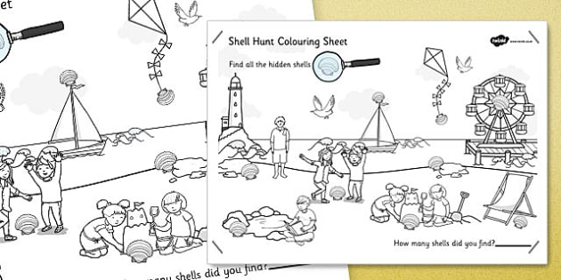 Seaside Shell Hunt Large Colouring Sheet - seaside, shell, hunt, colouring