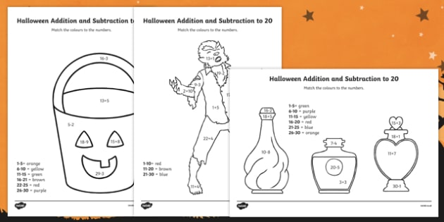 Halloween Themed Addition and Subtraction to 30 Colour by Number