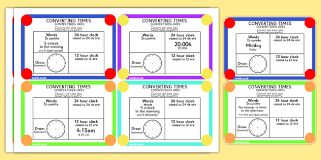 Converting Time Challenge Cards Romanian Translation - romania, eal, time, hours, minutes, challenges, maths, measure, clock, clocks, translated, bilingual