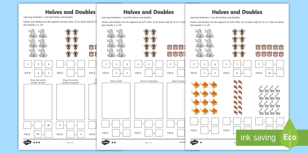 Halving and Doubling Activity Sheet - CfE Numeracy and Mathematics, number, 1st level, doubles, half, doubling, halving, maths, worksheet,