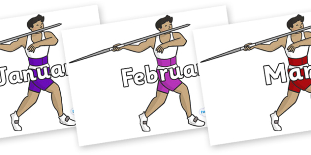 Months of the Year on Javelin - Months of the Year, Months poster, Months display, display, poster, frieze, Months, month, January, February, March, April, May, June, July, August, September