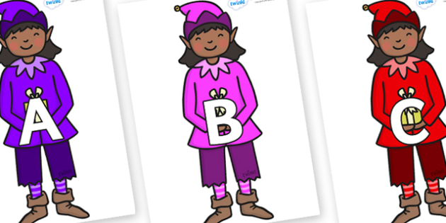 A-Z Alphabet on Girl Elves (Multicolour) - A-Z, A4, display, Alphabet frieze, Display letters, Letter posters, A-Z letters, Alphabet flashcards