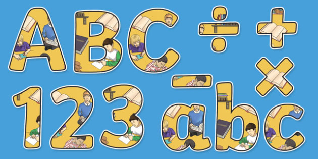 English Themed Display Letters and Numbers Pack - english, display lettering, English lettering, English display, English display lettering