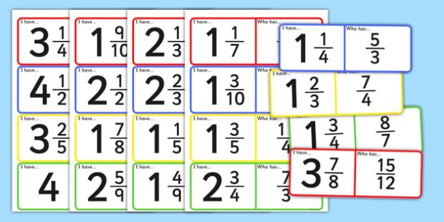Improper Fraction Loop Cards - improper fraction, loop cards, improper, fraction
