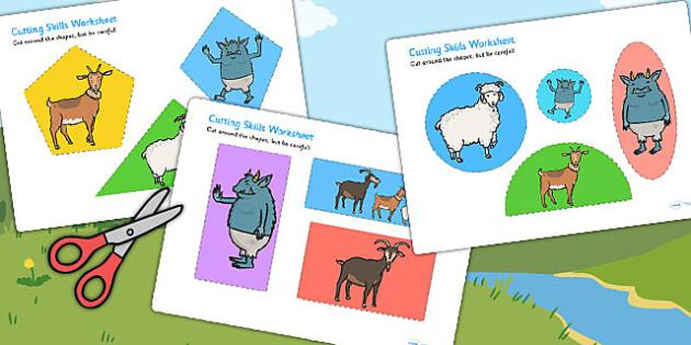 The Billy Goats Gruff Themed Cutting Skills Worksheet - cutting