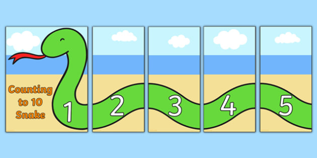 Counting 1 to 10 Snake Puzzles - counting, snake, puzzles, 1-10
