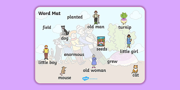 The Enormous Turnip Word Mat -  Enormous Turnip, word mat, writing aid, Traditional tales, tale, fairy tale, little old man, little old woman, seed, cat, dog, mouse, pull, turnip, working together