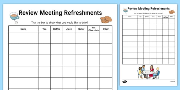 Person Centred Review Meeting Refreshment List With Categories - person centred review, meeting, refreshment list, categories