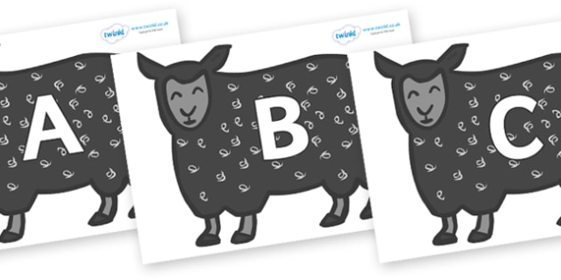 A-Z Alphabet on Black Sheep to Support Teaching on Brown Bear, Brown Bear - A-Z, A4, display, Alphabet frieze, Display letters, Letter posters, A-Z letters, Alphabet flashcards