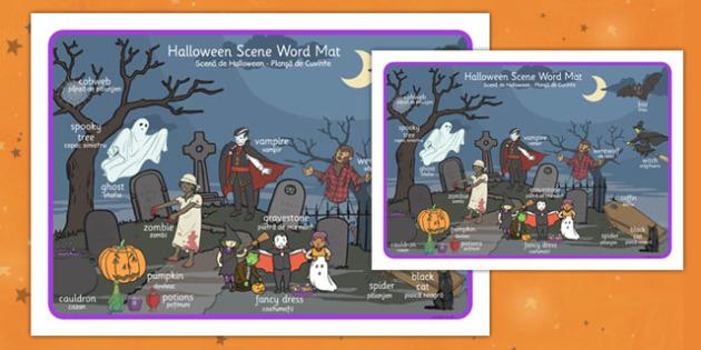Halloween Scene Word Mat Romanian Translation - romanian, halloween, hallowe'en, word mat