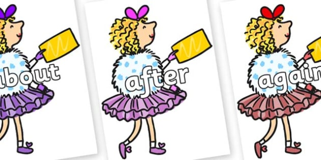 KS1 Keywords on Veruca Salt - KS1, CLL, Communication language and literacy, Display, Key words, high frequency words, foundation stage literacy, DfES Letters and Sounds, Letters and Sounds, spelling