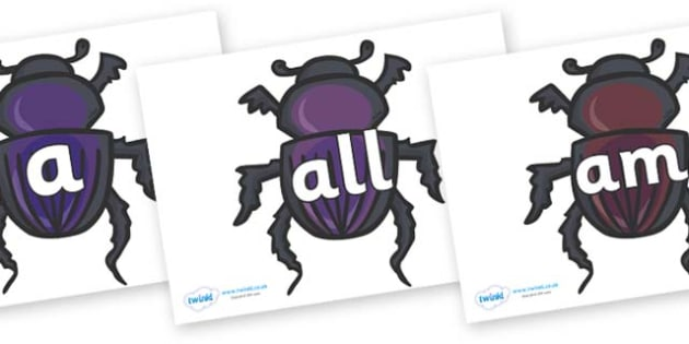 Foundation Stage 2 Keywords on Egyptian Beetles (Scarab) - FS2, CLL, keywords, Communication language and literacy,  Display, Key words, high frequency words, foundation stage literacy, DfES Letters and Sounds, Letters and Sounds, spelling