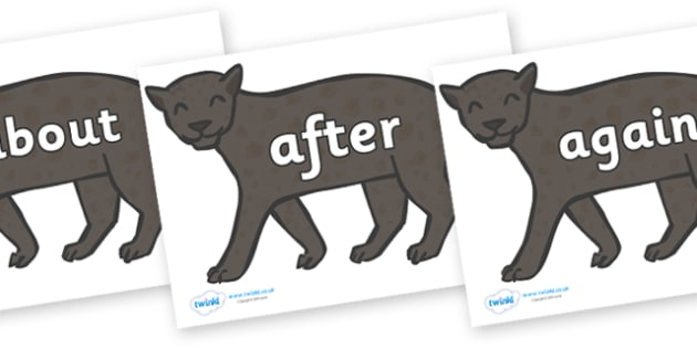 KS1 Keywords on Panthers - KS1, CLL, Communication language and literacy, Display, Key words, high frequency words, foundation stage literacy, DfES Letters and Sounds, Letters and Sounds, spelling