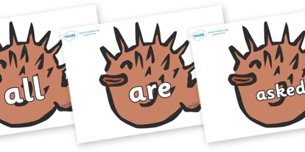 Tricky Words on Puffer Fish - Tricky words, DfES Letters and Sounds, Letters and sounds, display, words