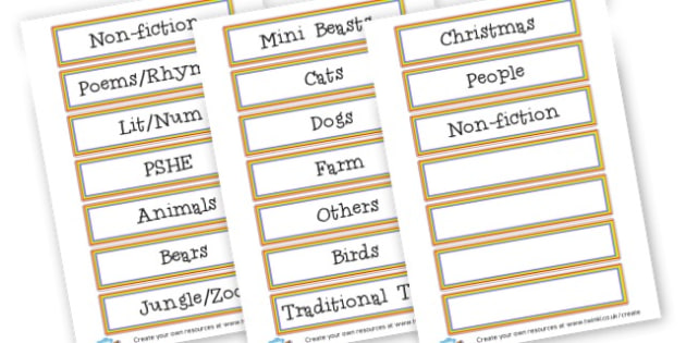 Library Labels - Reading Area Primary Resources, signs, area, zones, banner, poster
