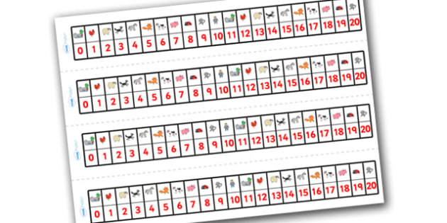 Number Track 0-20 to Support Teaching on What the Ladybird Heard - what the ladybird heard, number track, 0-20, 0-20 number line, number line, number strips, themed number line