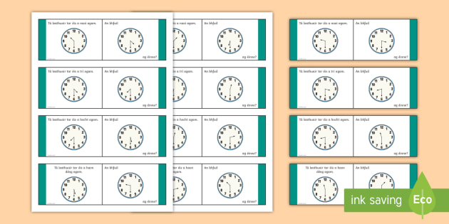 Time, Half Past Loop Cards-Irish - Requests - ROI, Time, an t-am, am, clock, clog, an chlog, half past, leathuair tar éis,Irish