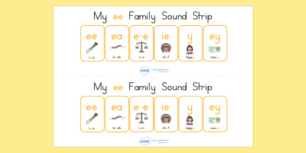 My Ee Family Sound Strip - sound family, visual aid, literacy