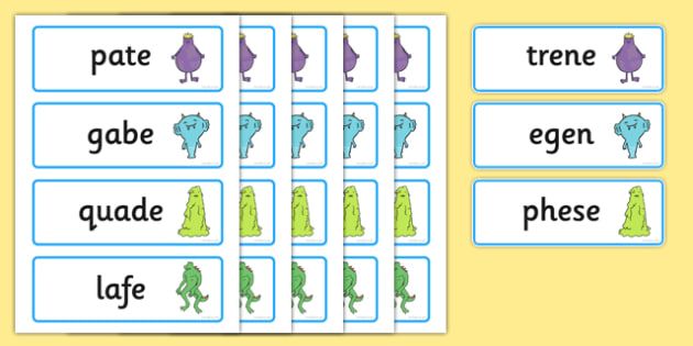 KS1 Alien Split Digraph Nonsense Word Cards - ks1, nonsense