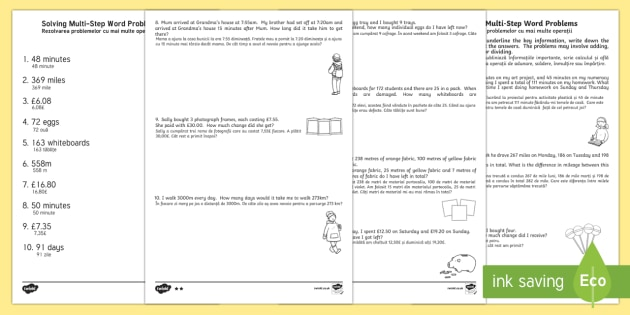 Differentiated Two Step Maths Word Problems Activity Sheet Pack English/Romanian