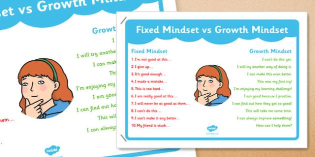 Fixed Mindset vs Growth Mindset KS1 A4 - fixed, mindset, growth, ks1