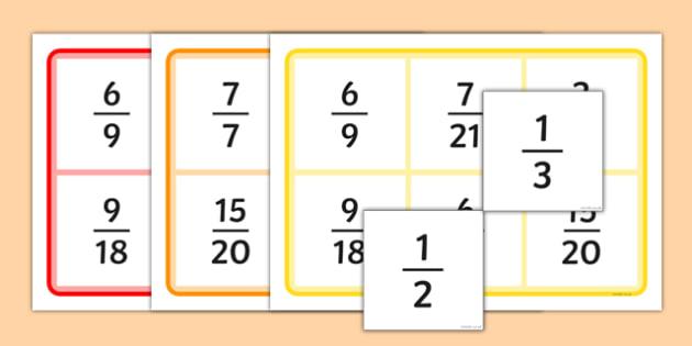 Fractions Equivalent Bingo - fractions bingo, fraction, fractions, bingo, game, activity, equivalent, decimal, percentage, one whole, half, third, quarter, fifth, proportion, part, numerator, denominator, equivalent, 1/3, 1/2, 1/4