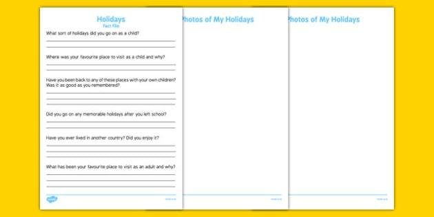 Elderly Care Life History Book Holidays Fact File - Elderly, Reminiscence, Care Homes, Life History Books