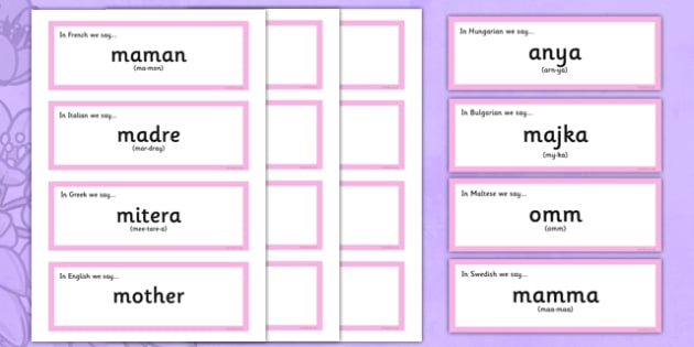 Mother's Day Word Cards of Mum in Different Languages - australia, Mother's Day, Mum, languages, How to say, posters, different