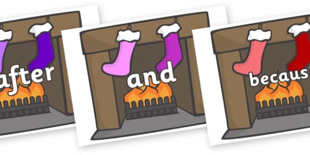 Connectives on Fireplace & Stockings - Connectives, VCOP, connective resources, connectives display words, connective displays