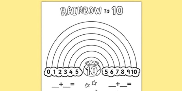 Rainbow to 10 Activity Sheet - rainbow, 10, activity sheet, activity, sheet, worksheet