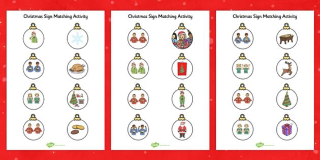 Christmas British Sign Language Matching Activity Worksheets
