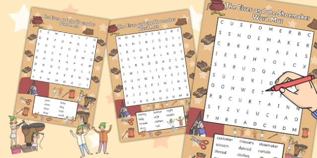 The Elves and the Shoemaker Wordsearch - word search, words