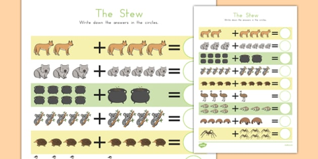 The Stew Up to 10 Addition Sheet - australia, the stew, wombat stew, marcia k vaughan, addition