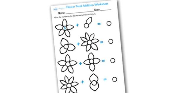 Numbers on Flowers Addition Worksheet - flower addition, flower addition worksheet, flower petal addition worksheet, flower numeracy, flower maths, flowers