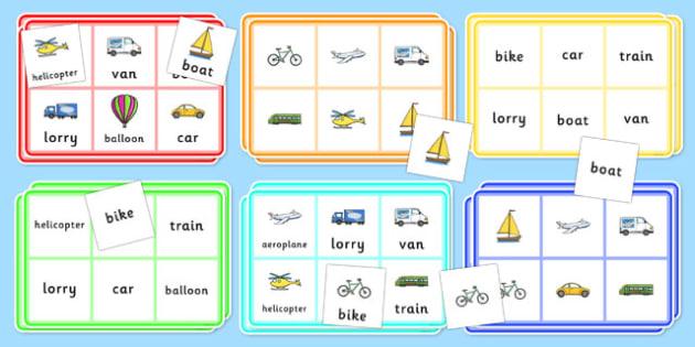 Transport Bingo - Transport, bingo, lotto, activity, game, matching, pair, car, van, lorry, bike, motorbike, plane, aeroplane, tractor, truck, bus
