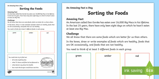 Sorting the Foods Activity Sheet - Amazing Fact Of The Day, activity sheets, powerpoint, starter, morning activity, December, healthy,