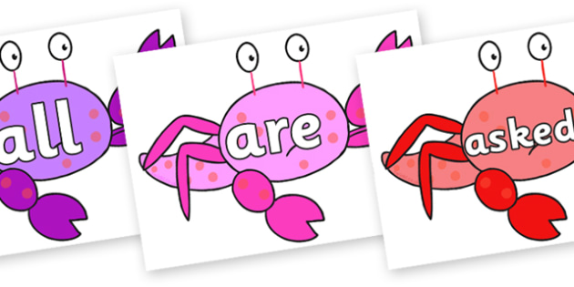 Tricky Words on Crab to Support Teaching on Sharing a Shell - Tricky words, DfES Letters and Sounds, Letters and sounds, display, words
