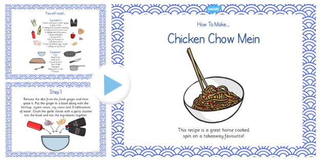 Chicken Chow Mein Recipe PowerPoint - recipe, chicken chow mein