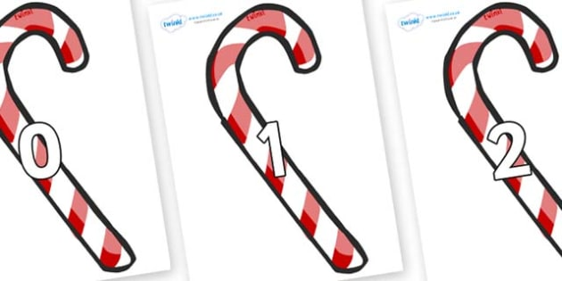 Numbers 0-100 on Candy Canes (Plain) - 0-100, foundation stage numeracy, Number recognition, Number flashcards, counting, number frieze, Display numbers, number posters