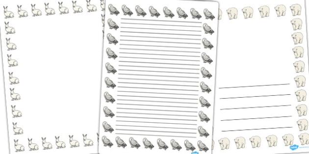Arctic Animals Page Borders - arctic animals, page borders, themed page borders, writing guide, writing frame, writing template, line guide, writing