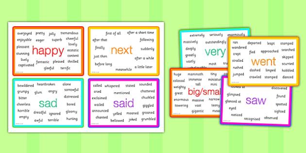 Interesting Words Vocabulary Cards - synonym word cards, synonym prompt cards, better words, powerful words, writing aid, creative writing aid, ks2 english