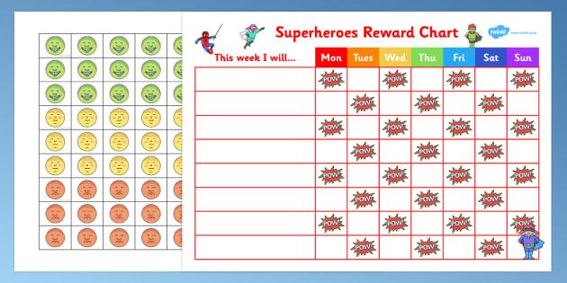 Superheroes Reward Sticker Chart - superheroes, reward, sticker