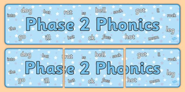 Phase 2 Phonics Display Banner - phase 2, phonics, display banner, display, banner