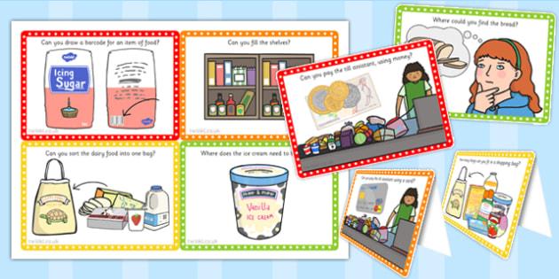 Supermarket Role Play Challenge Cards - challenge, cards, shop