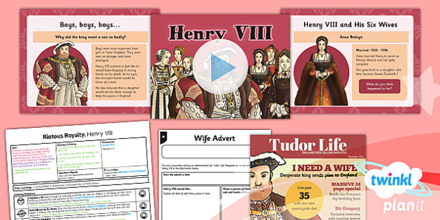PlanIt - History LKS2 - Riotous Royalty Lesson 3: Henry VIII Lesson Pack - wives, tudor, england, heir, advert