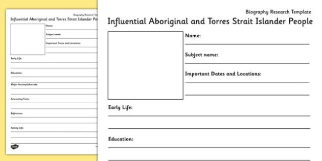 Influential Aboriginal and Torres Strait Islander People Biography Research Template - research, flags, australia, torres, strait, ,Australian, world, flags, geography
