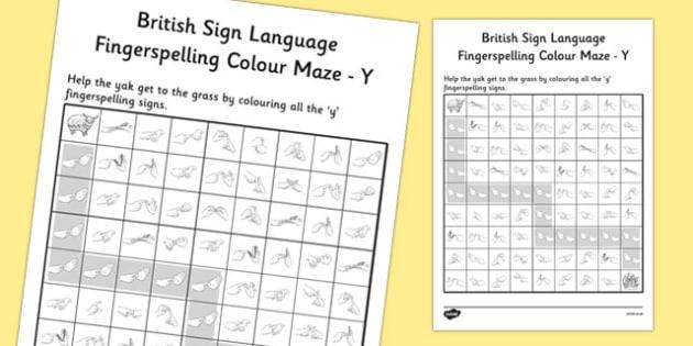 British Sign Language Fingerspelling Colour Maze Y - colour, maze