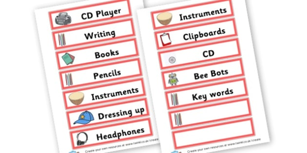 Music Area Labels - Listening & Music Area Primary Resources, signs, area, zones